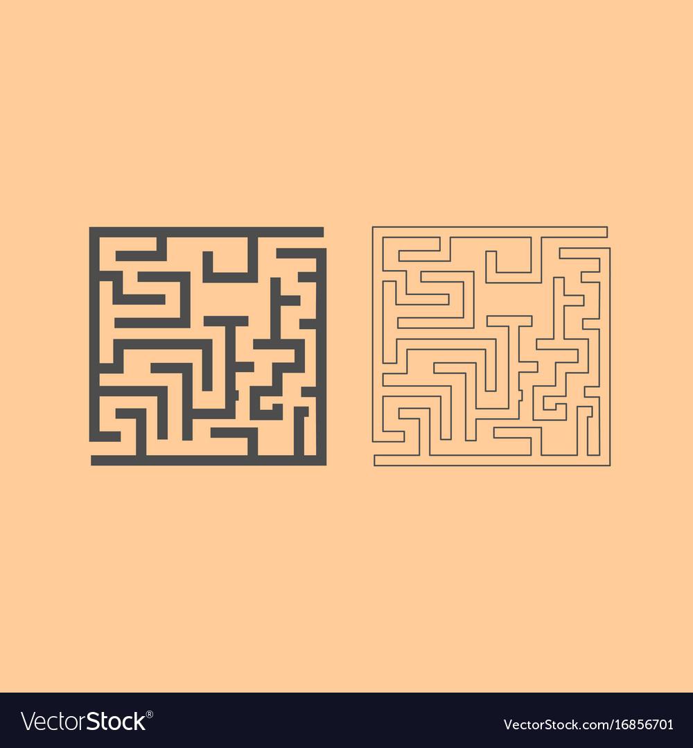 Labyrinth maze conundrum dark grey set icon vector image