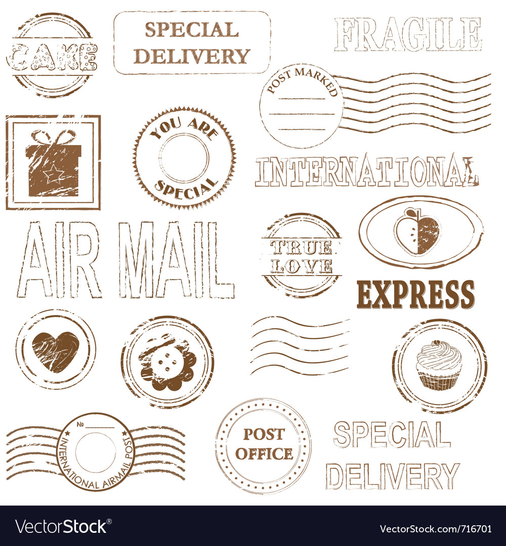 Stamp set collection vector image
