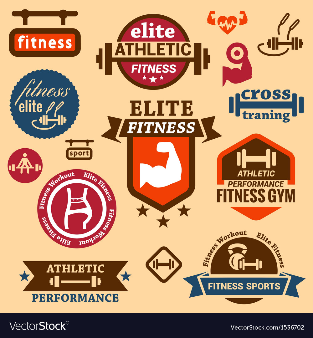 Fitness labels vector image