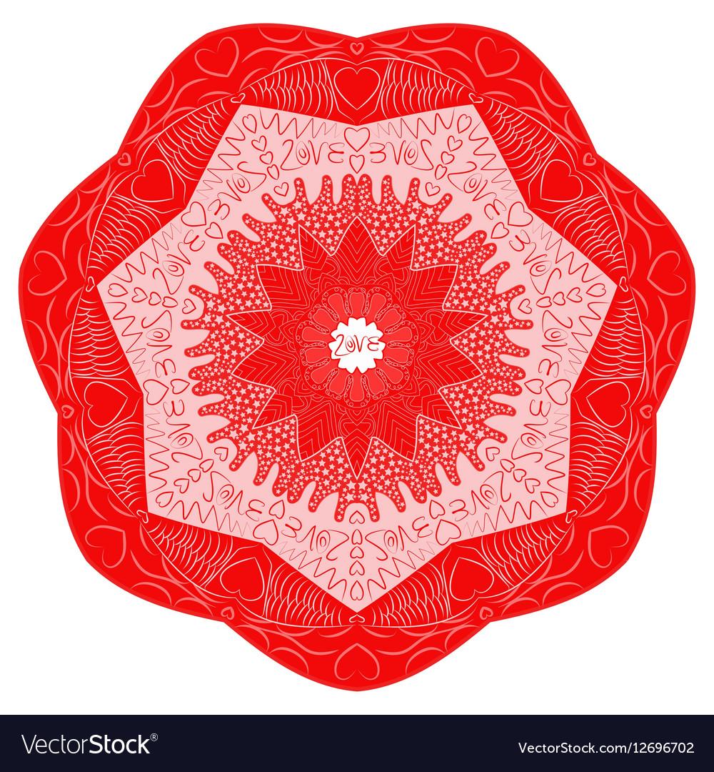 Red Valentines Day mandala inscription love vector image