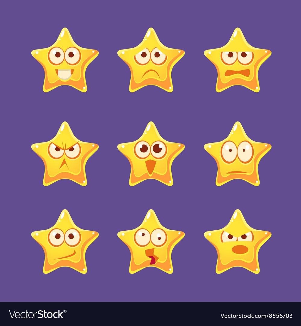 Golden Star Emoji Character Set vector image