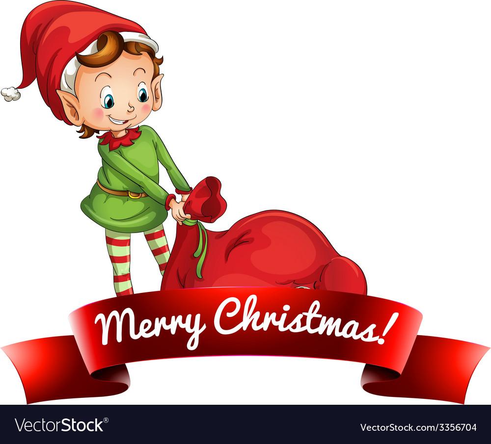 Christmas logo with elf vector image