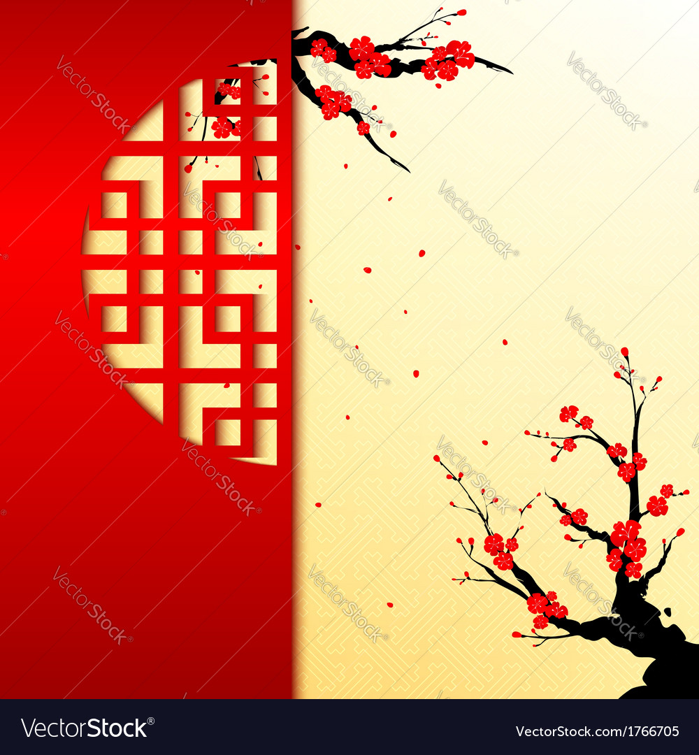 Chinese New Year Cherry Blossom Greeting Card Vector Image