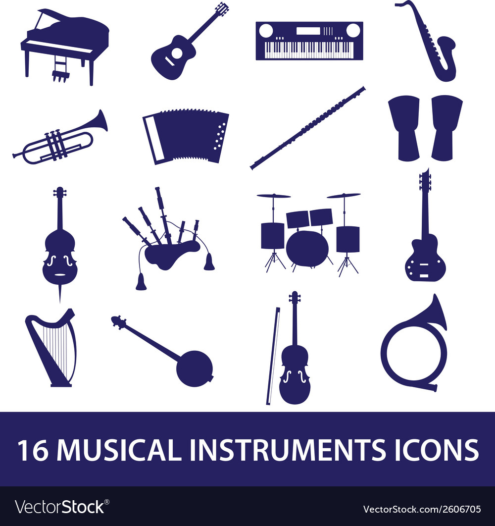 Musical instruments icon set eps10 vector image