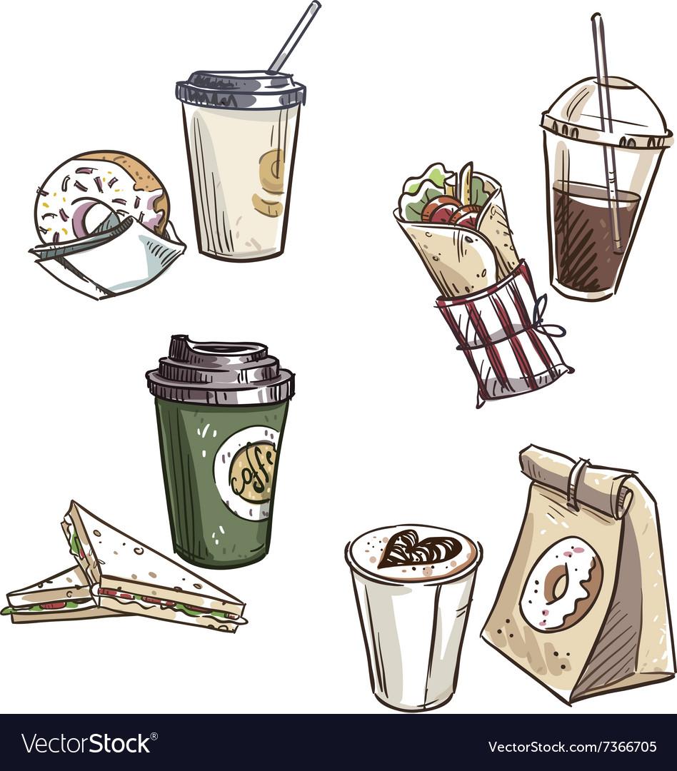 Selection of takeaway snacks vector image