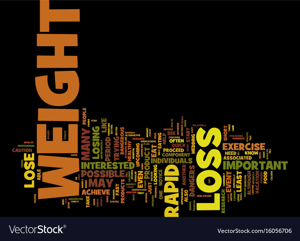 The dangers of rapid weight loss text background vector image