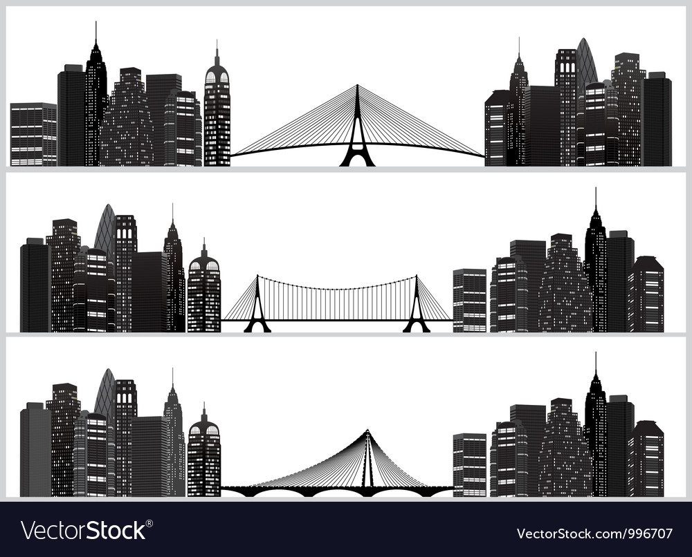 City set black vector image