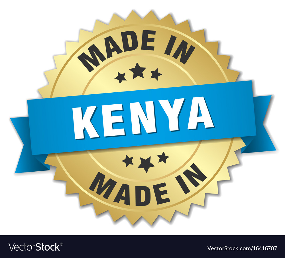 Made in kenya gold badge with blue ribbon vector image