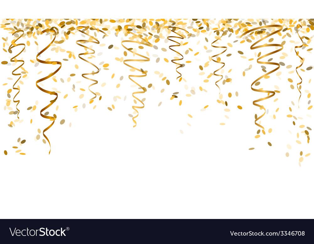 Falling gold confetti vector image