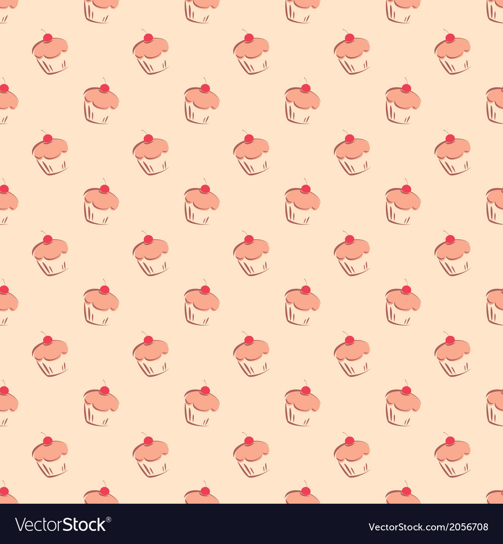 Sweet hand drawn cherry cake decoration wallpaper vector image