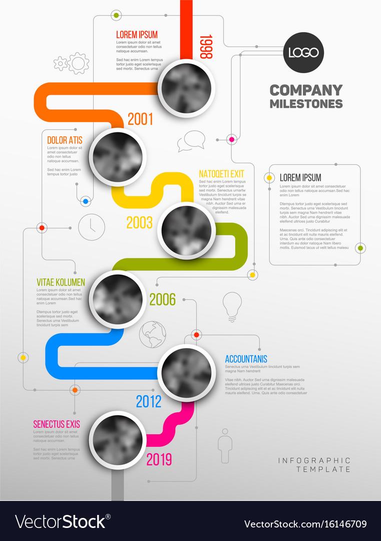 Infographic Company Milestones Timeline Template Vector Image - Milestone timeline template