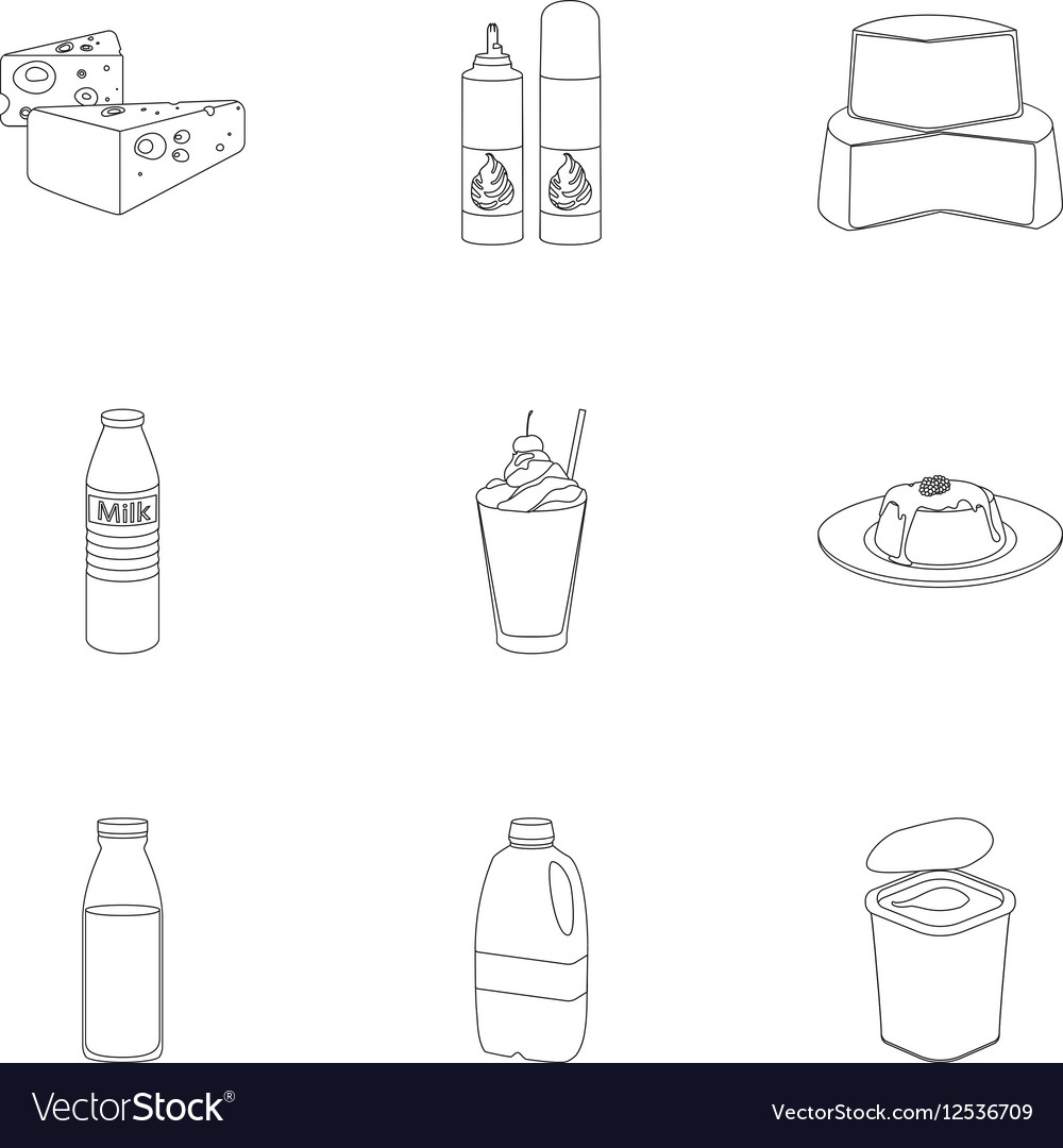 Milk product and sweet set icons in outline style vector image