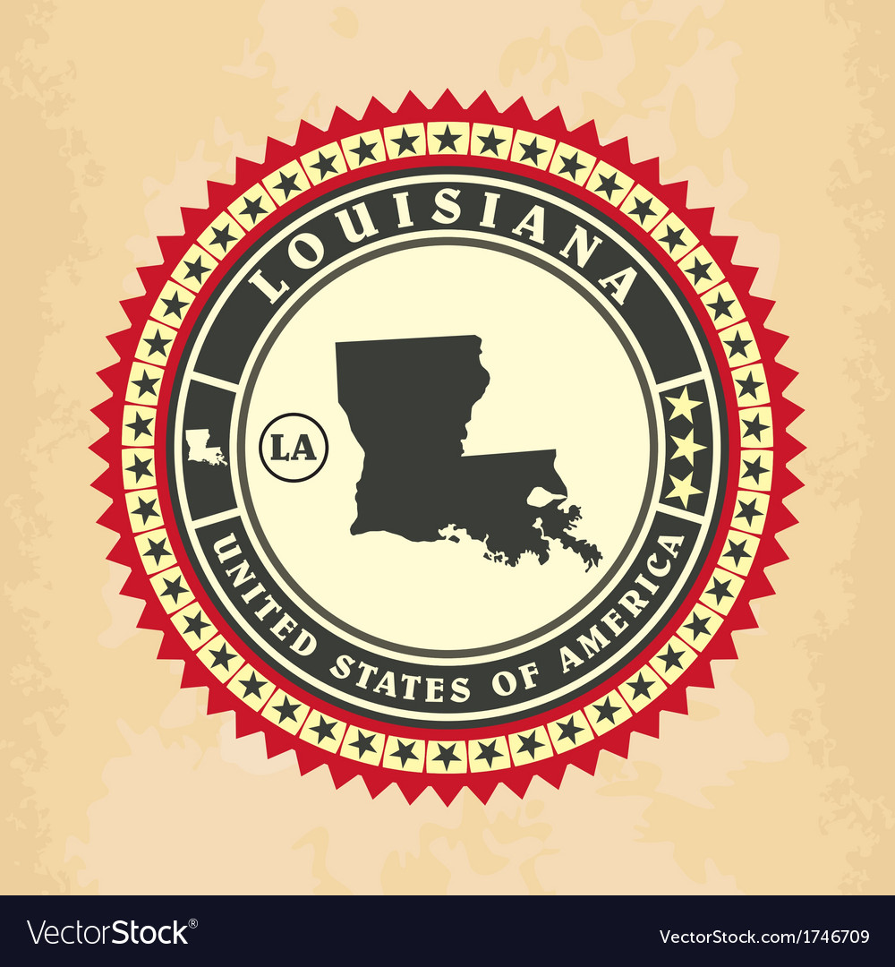 Vintage label-sticker cards of Louisiana vector image