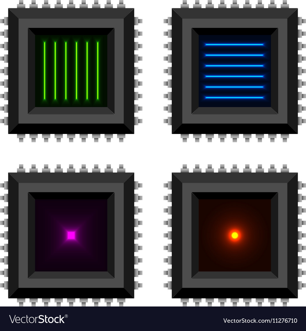Electronic chip glowing core EPS10 vector image