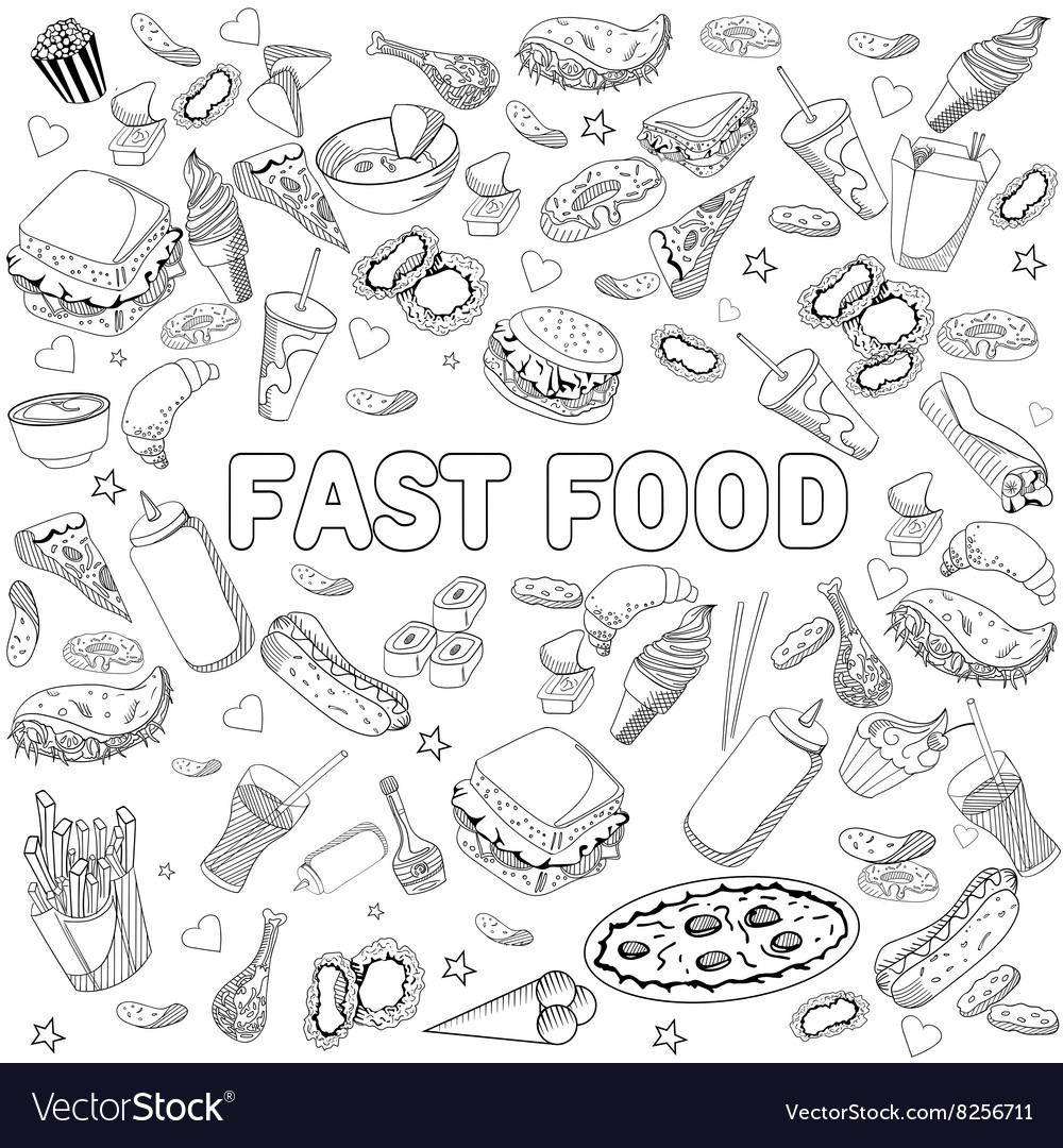 Fast food coloring book design line art Royalty Free Vector