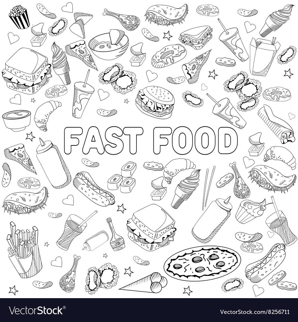 fast food coloring book design line art vector image - Food Coloring Book