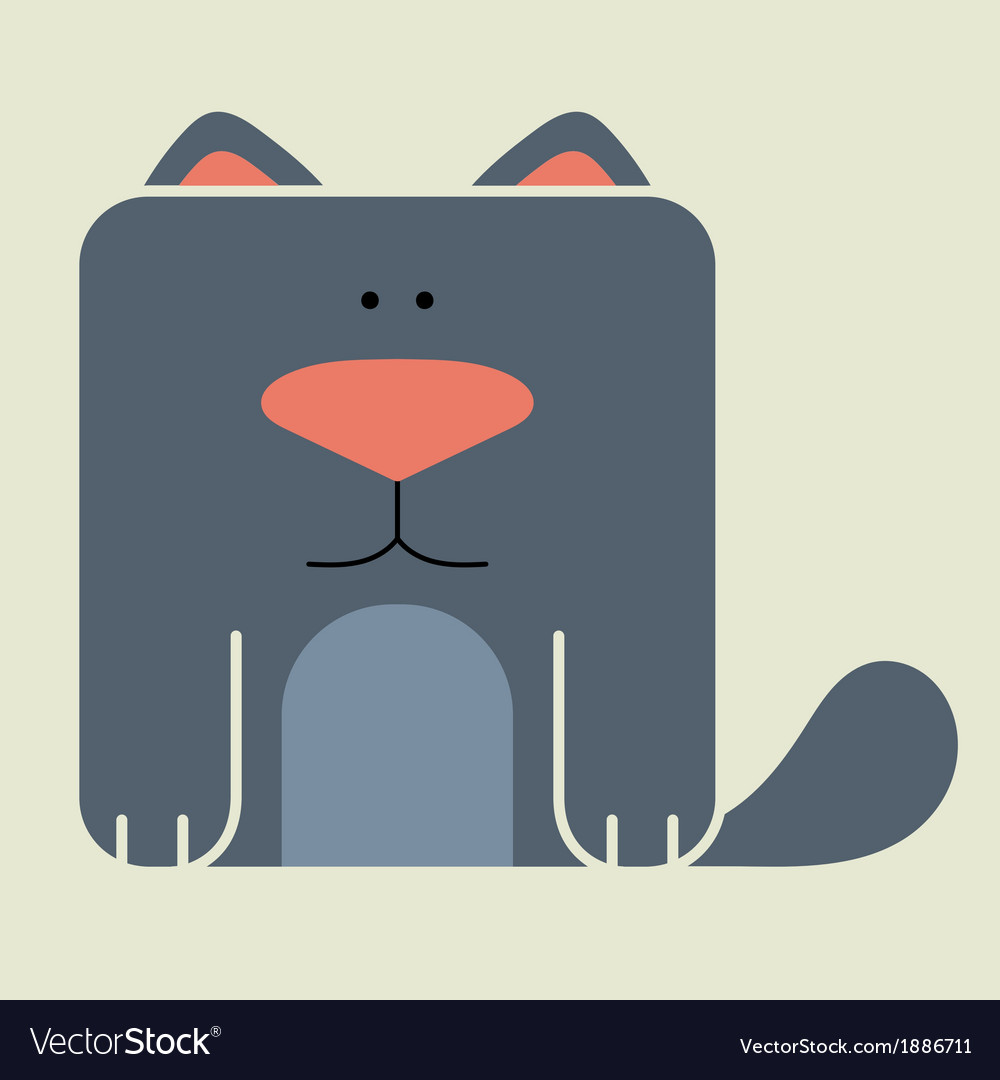 Flat square icon of a cute cat vector image