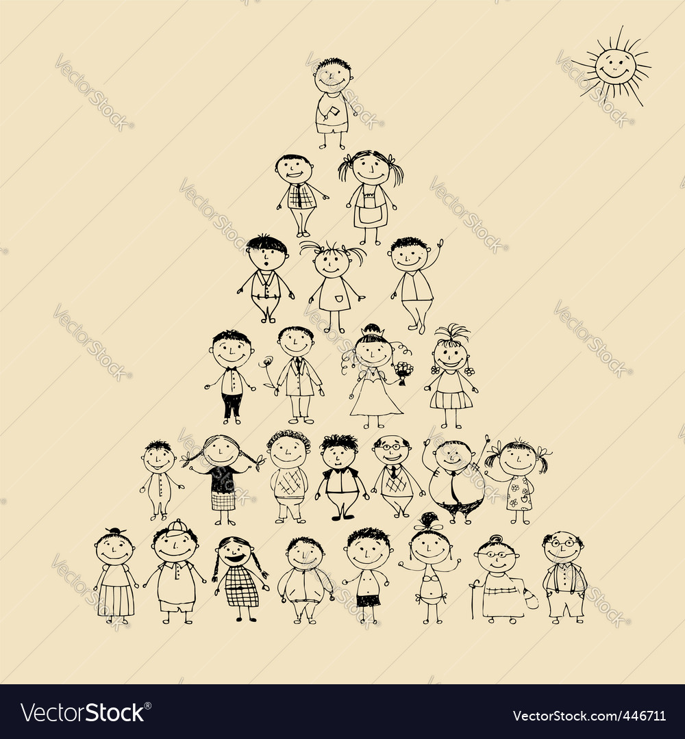 Pyramid with happy big family vector image