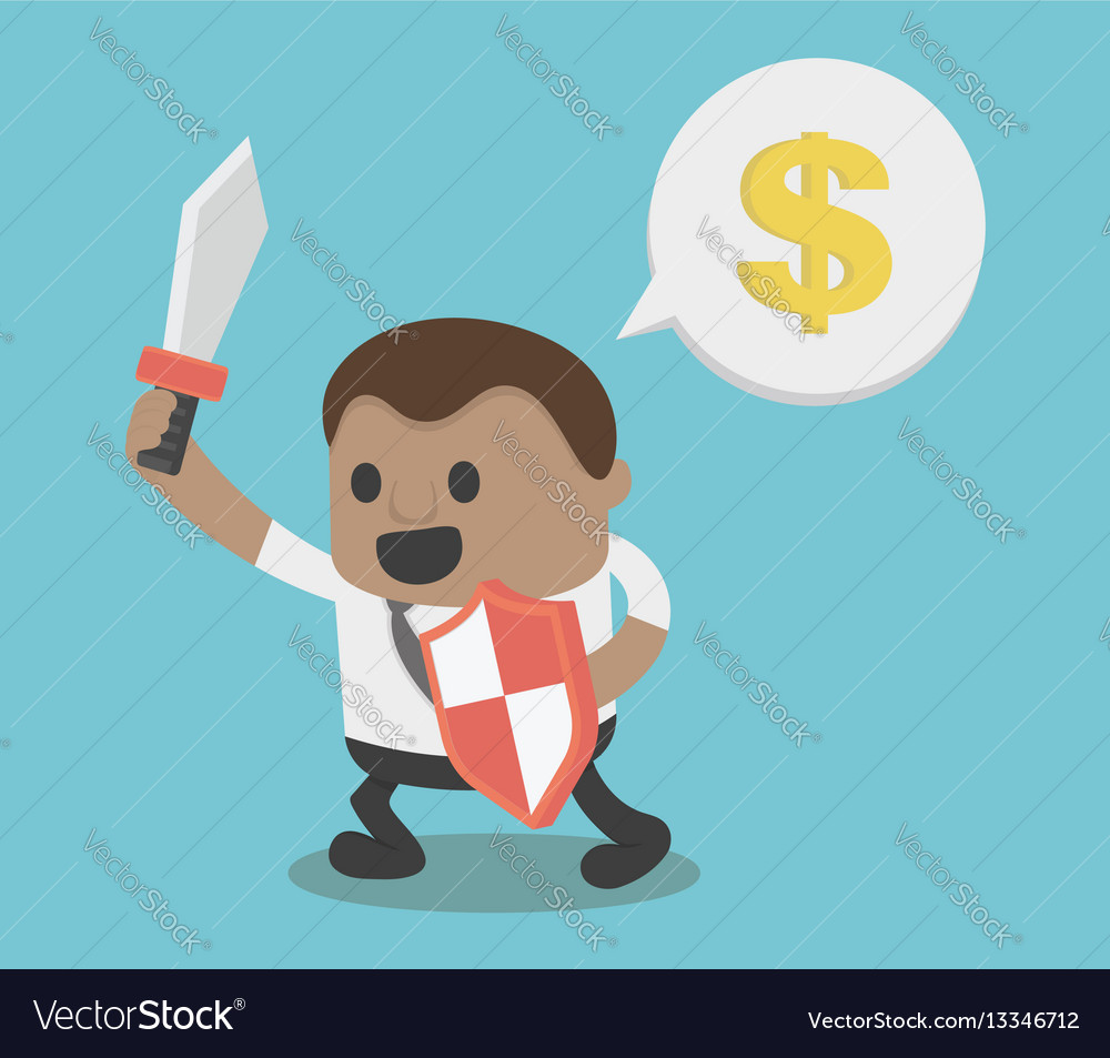 Concept african businessman hold sword and shield vector image