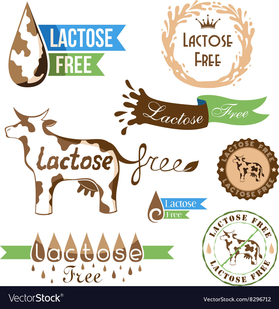 Lactose free elements vector image