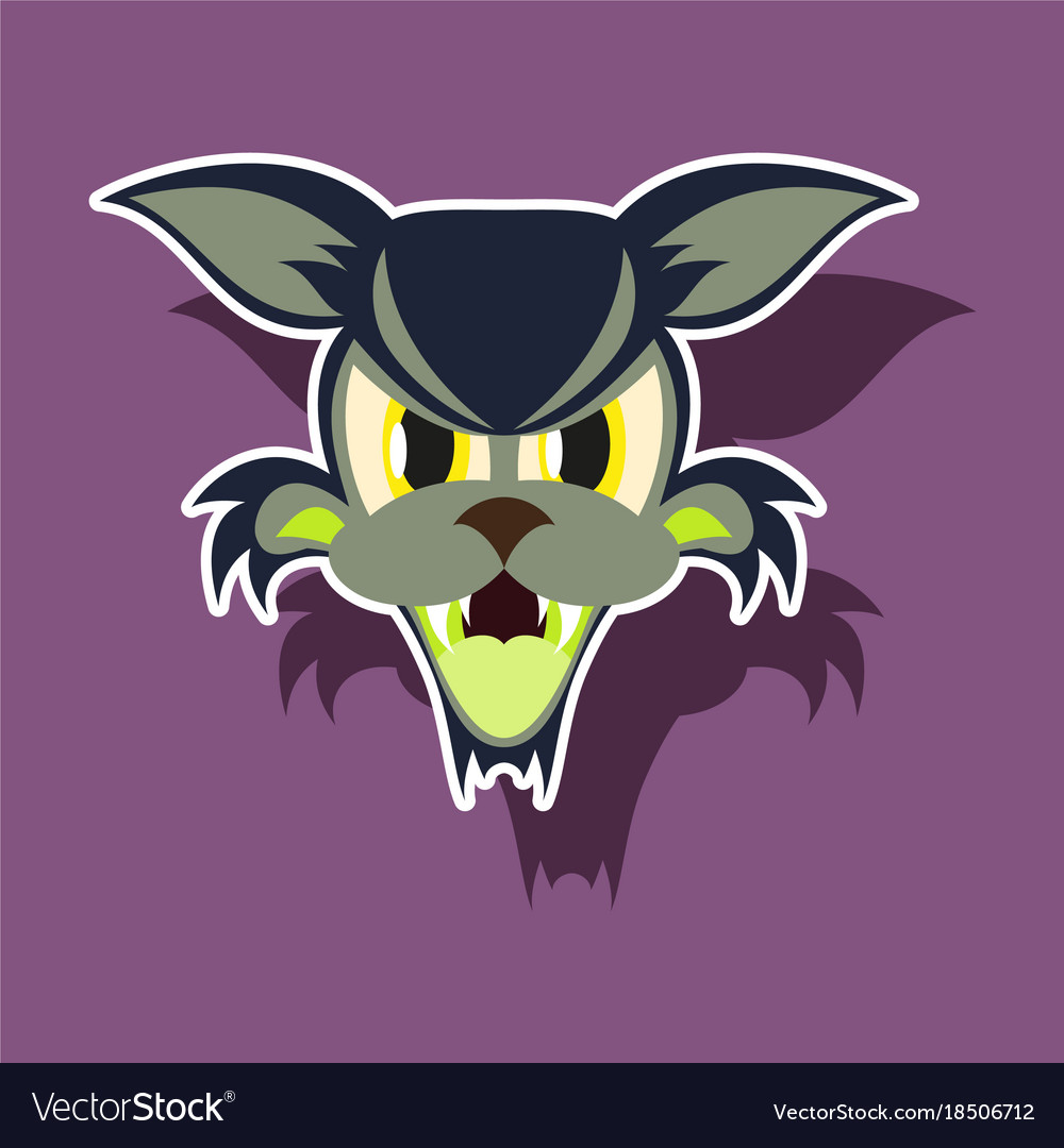 Paper sticker on theme angry cat animal