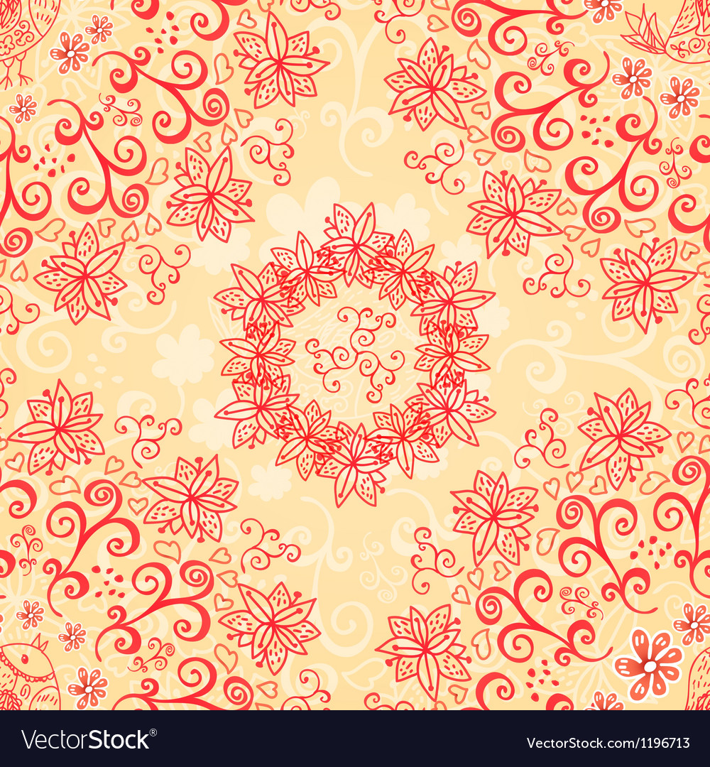 Red and cream floral seamless pattern vector image