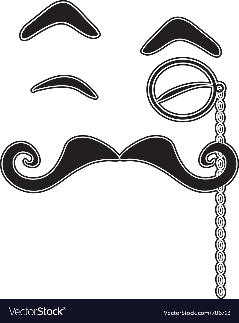 Mustache and monocle vector image