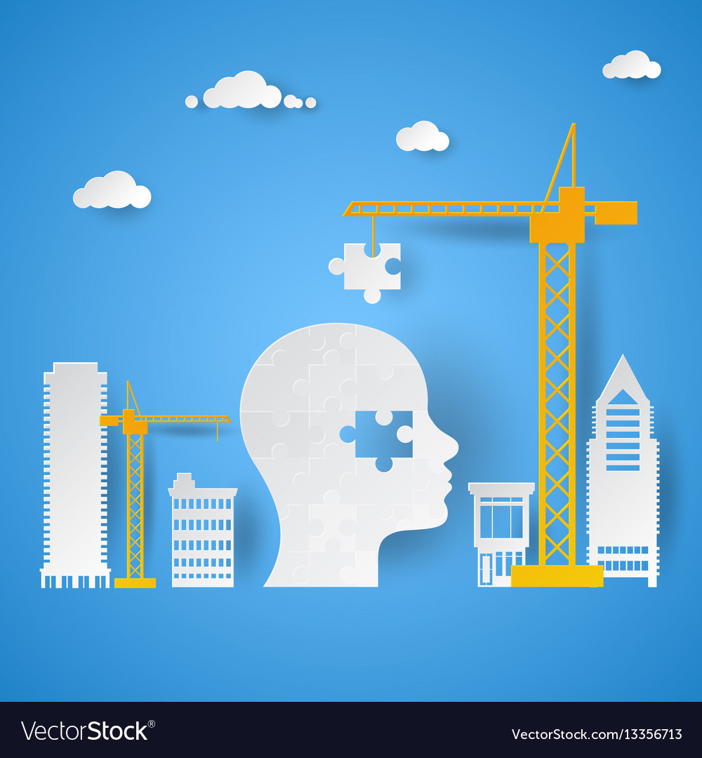 Crane adding last piece to puzzle head vector image