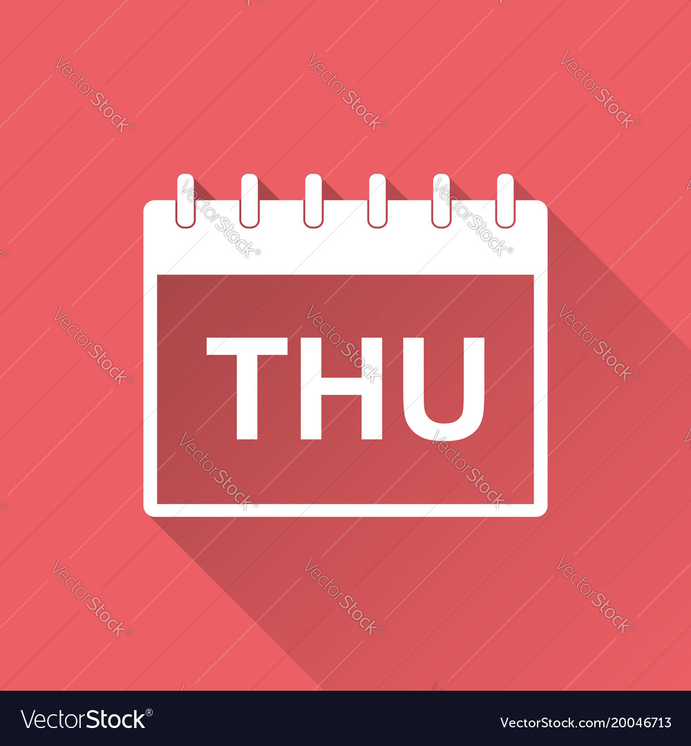 Thursday calendar page pictogram icon simple flat vector image