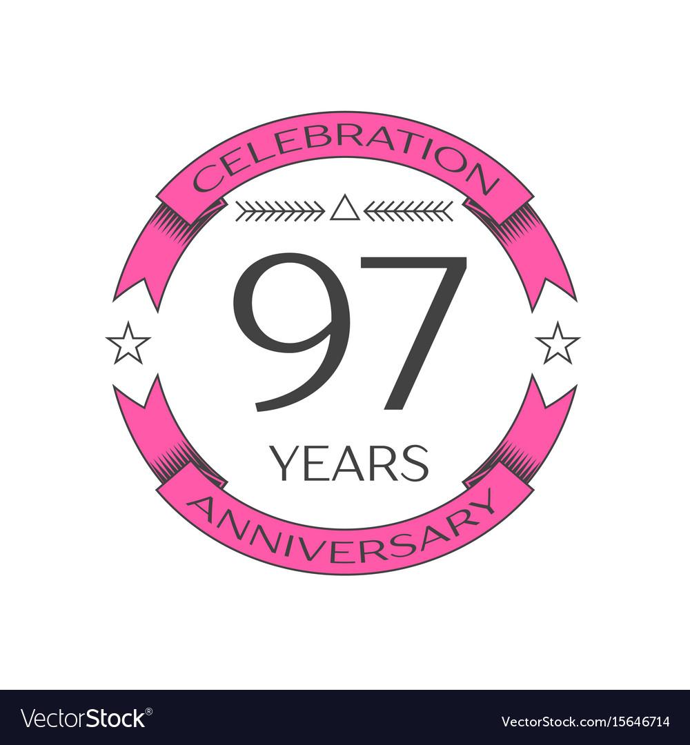 Ninety seven years anniversary celebration logo vector image
