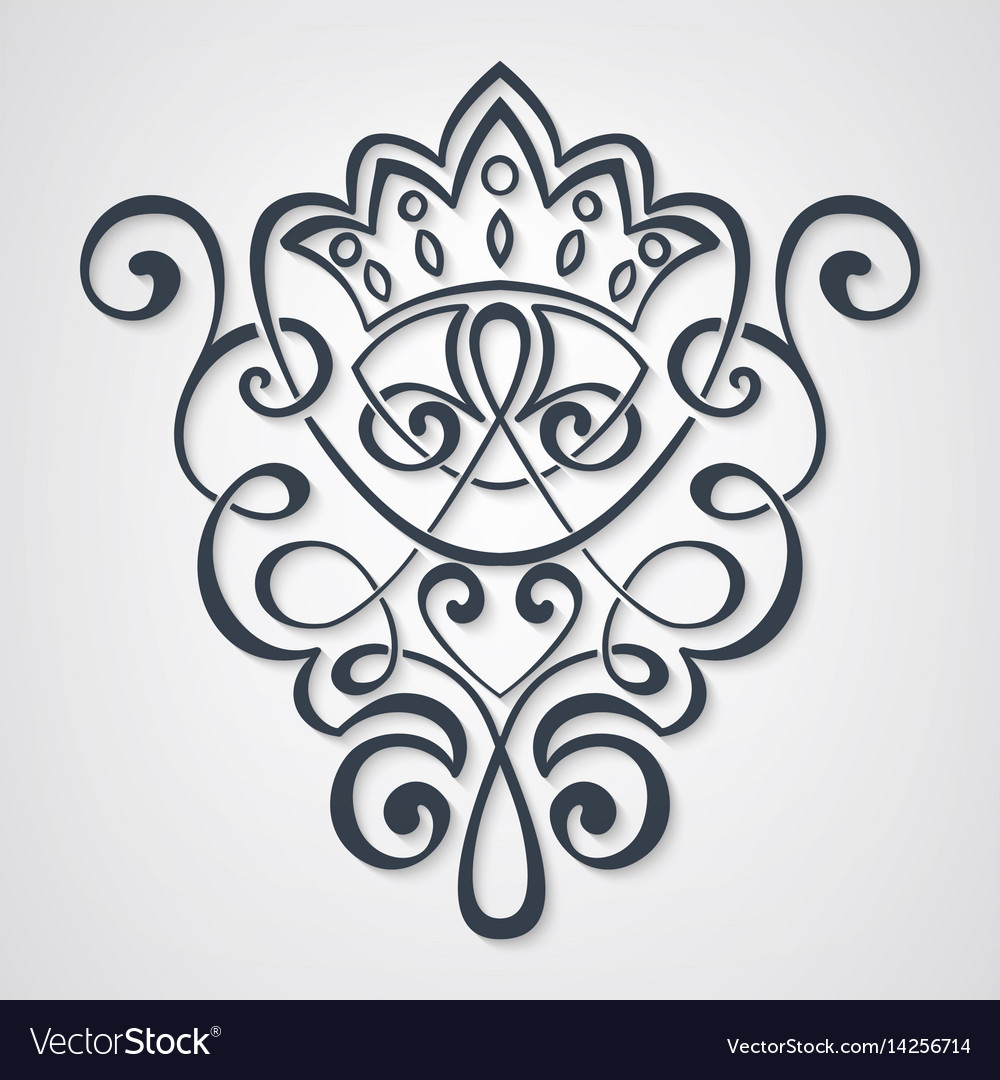 Set of calligraphic and page vector image
