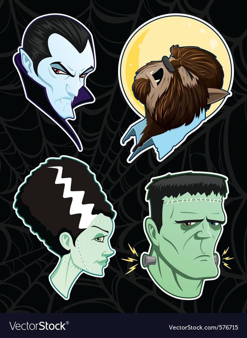 Halloween monster heads vector image