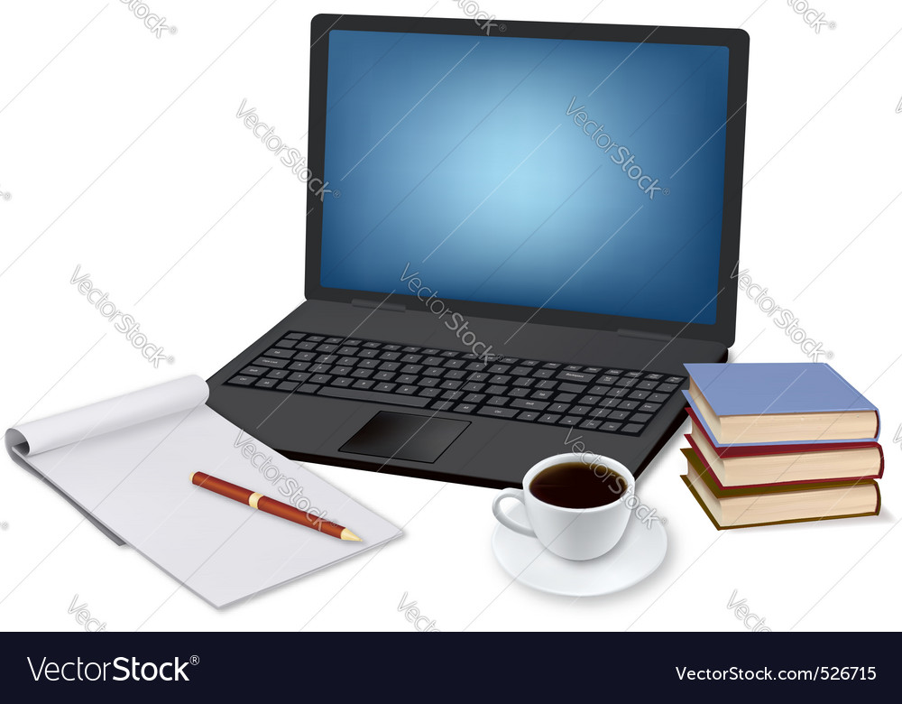 Laptop and coffee and notepad vector image