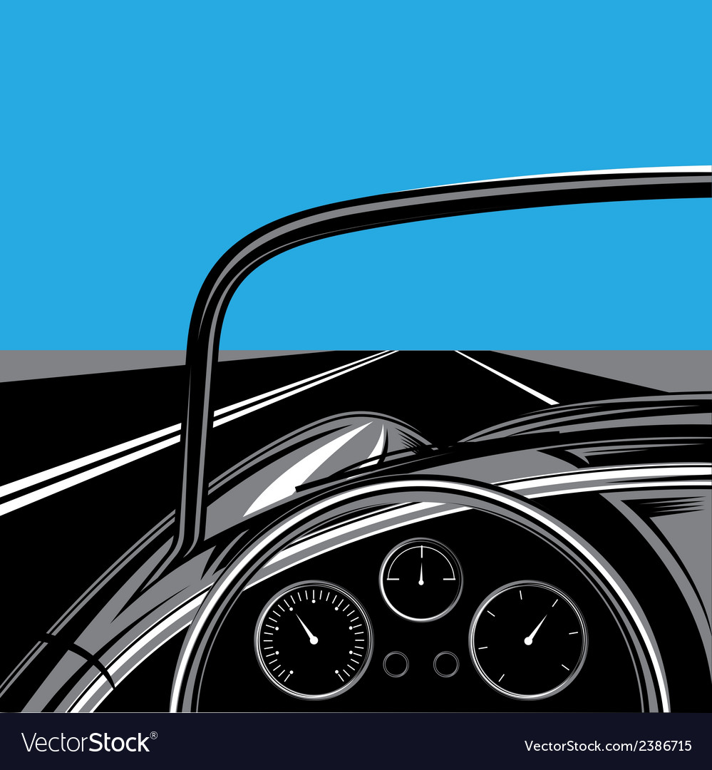 With the road sky and traveling car vector image