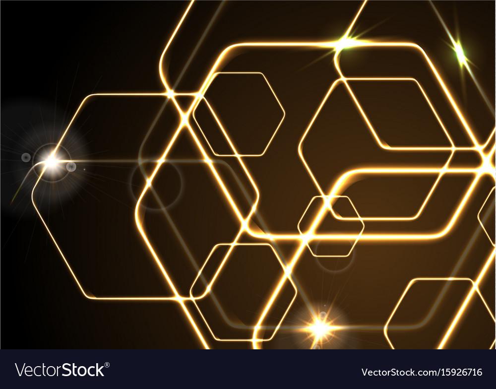 Glowing orange neon hexagons background vector image