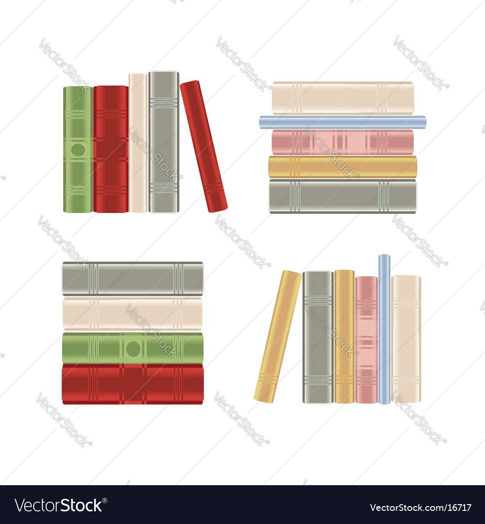 Set of books on shelf Vector Image