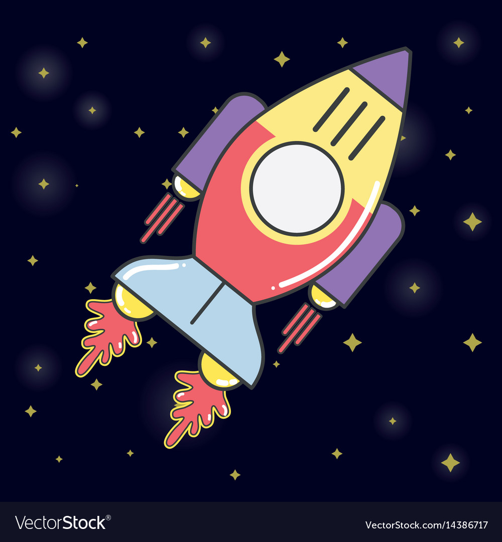 Rocket in the galaxy space exploring the universe vector image