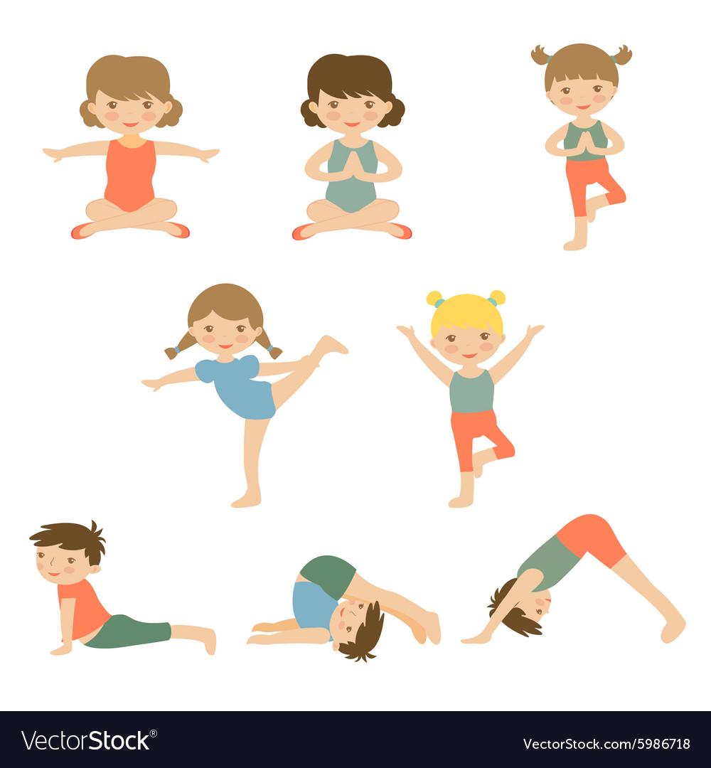 Cute yoga kids vector image