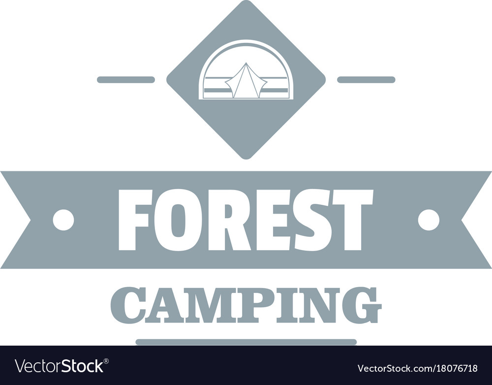 Forest camping logo vintage style vector image