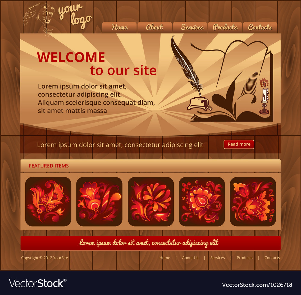 Wood template site vector image