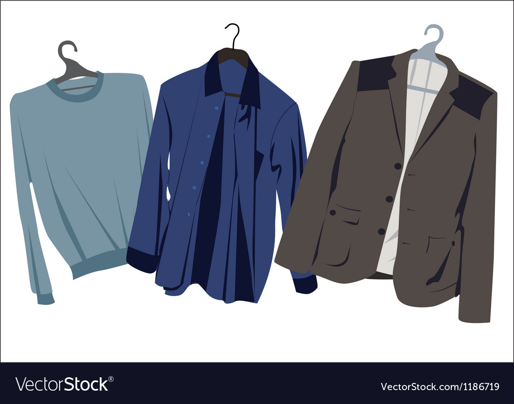 Mens clothing on hangers vector image