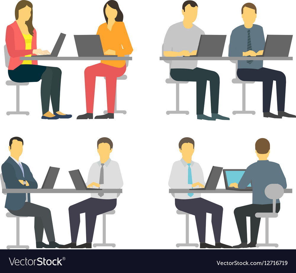 Two workers at the table Business people set vector image