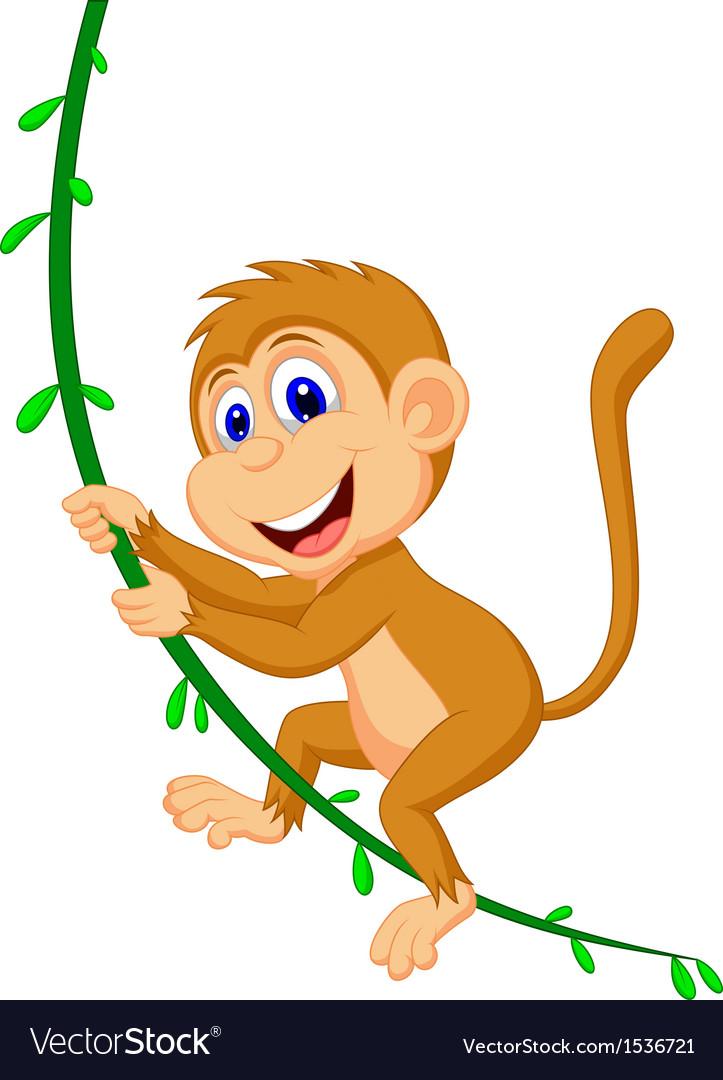 Cartoon monkey swinging