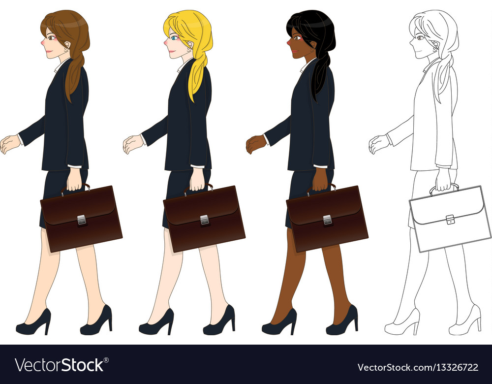 Business woman walking and holding briefcase vector image