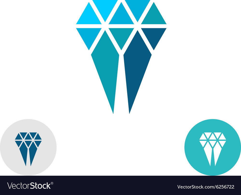 Diamond molar simple logo Triangle particles style vector image