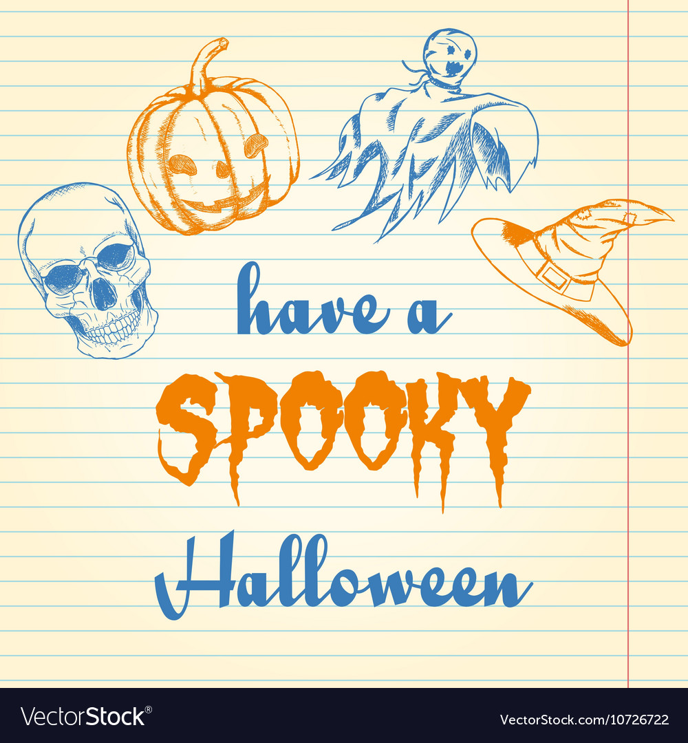 Halloween doodle - pumpkin ghost hat and skull vector image