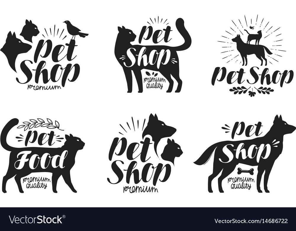 Pet shop label set animals dog cat parrot vector image