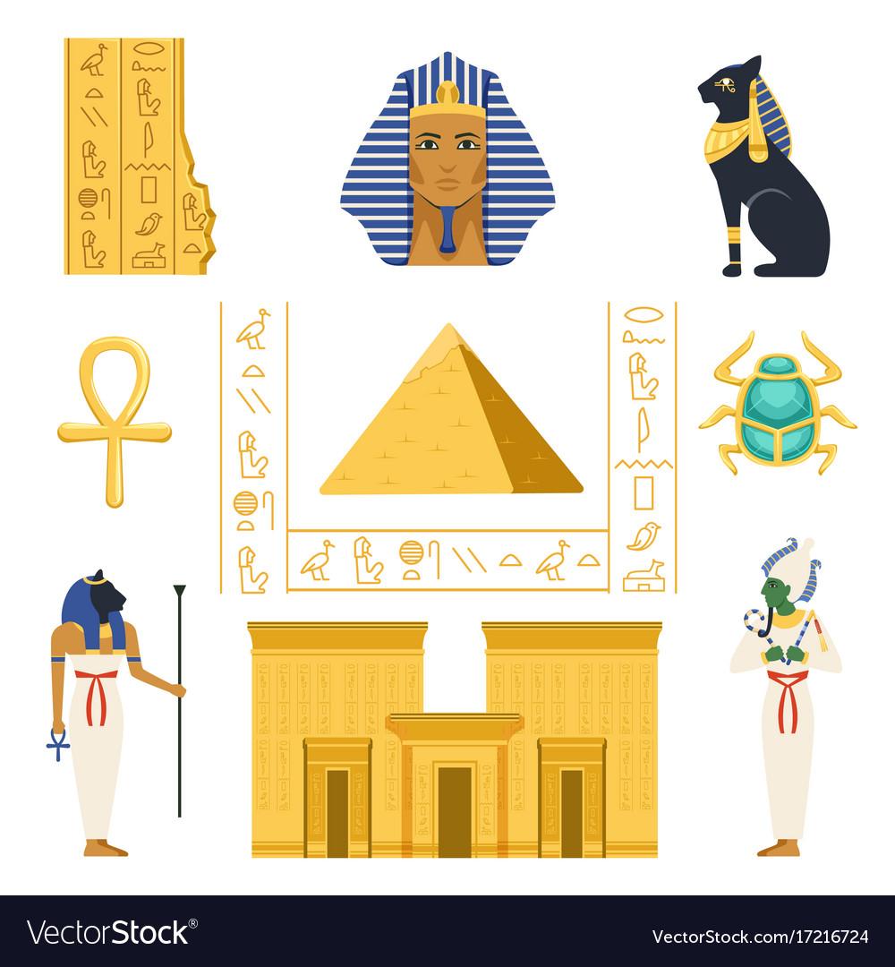 Egypt set egyptian ancient symbols colorful vector image