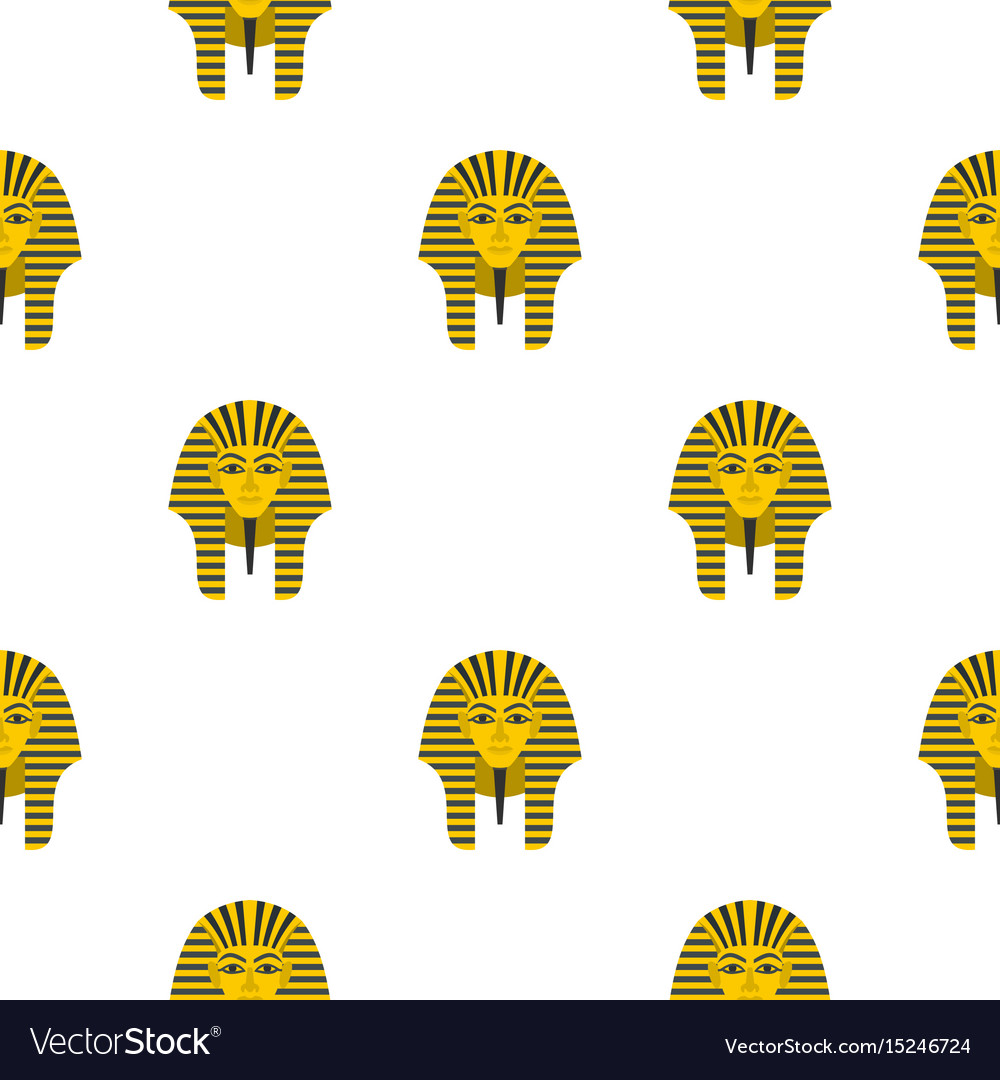 Egyptian golden pharaohs mask pattern seamless vector image