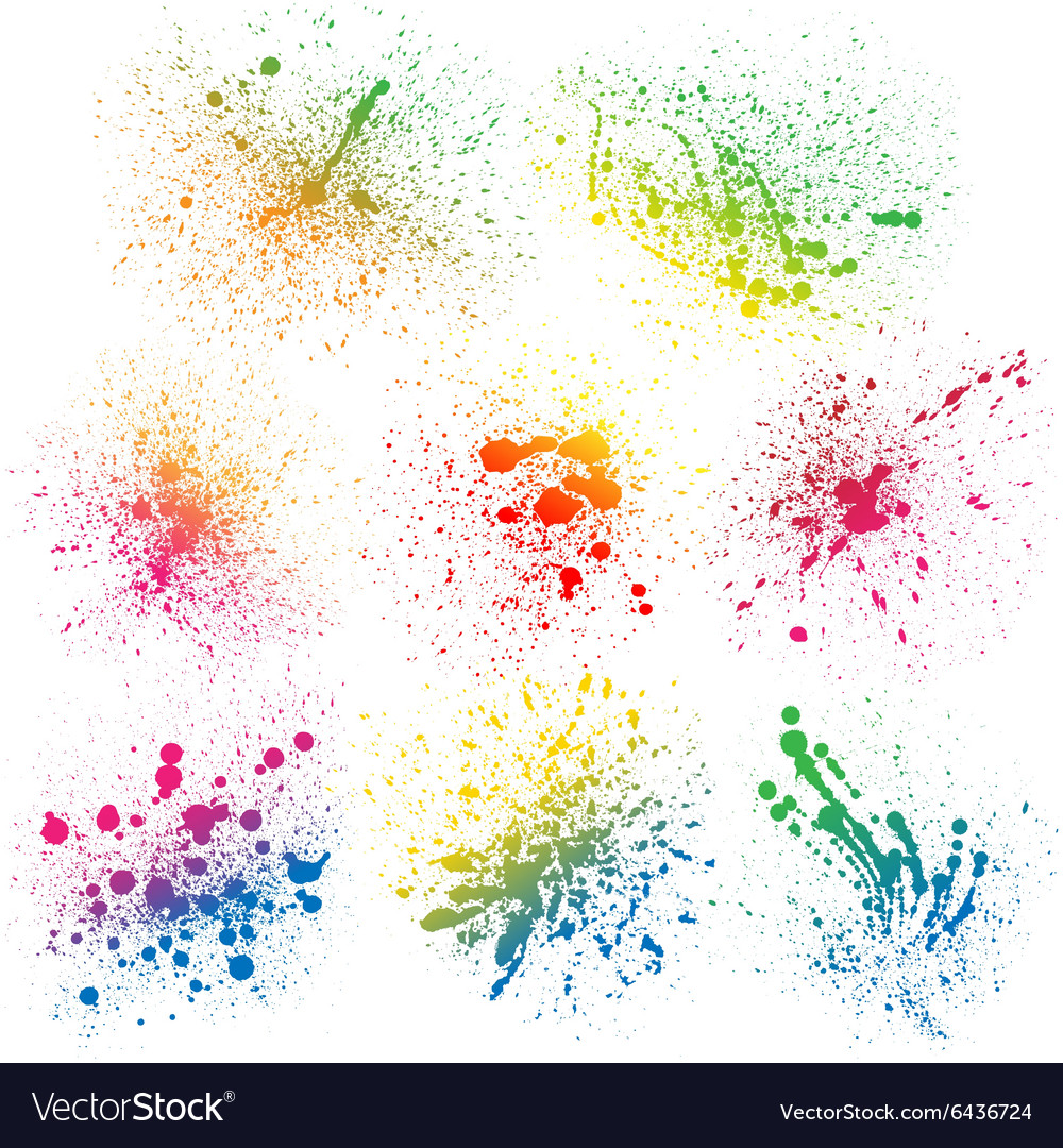 Set of 8 isolated colorful gradient rainbow grunge vector image